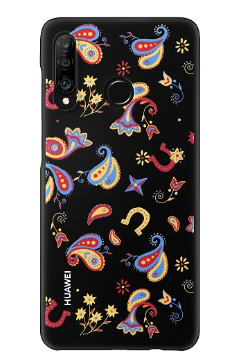 Huawei Original Colorful TPU Pouzdro Flower Black pro P30 Lite (EU Blister)
